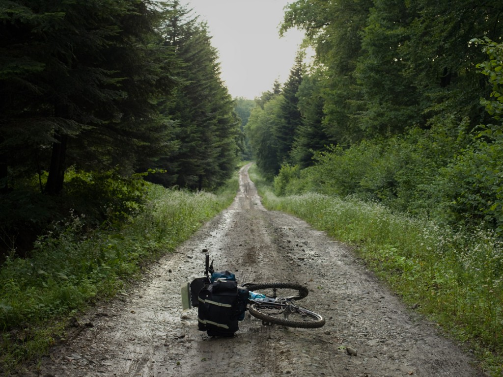 I had to give up the idea of riding the paths but I found some alternative dirt roads which are used by the timber industry in the area and where I hardly find any traffic.