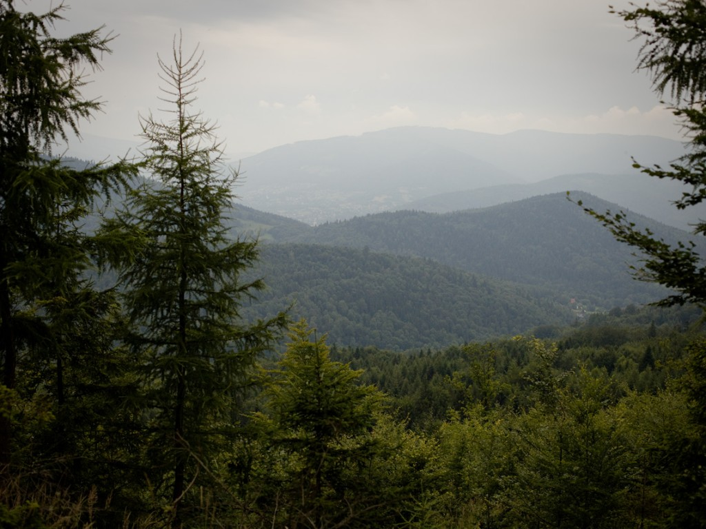 Southern view of Beskid Mały Mountains. The highest peak in this photo is 855 meters high.